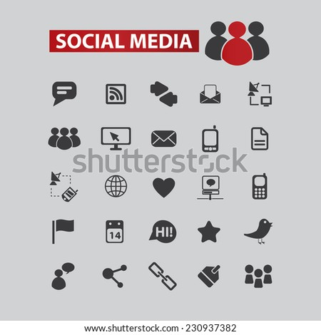 social media, community black icons, signs, illustrations set, vector