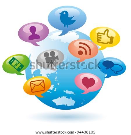 Social Media concept Globe Communication vector - stock vector