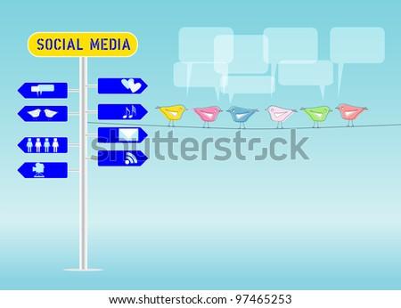 social media concept, illustration, free copy space - stock vector