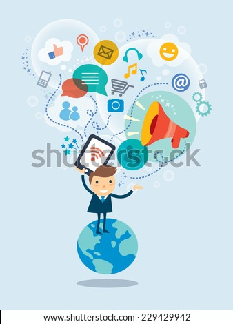 Social media concept vector illustration with business  man cartoon character standing on a globe with cloud of icons - stock vector