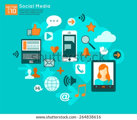 Social media concept with place for text. Flat style design social media icons set. Vector illustration. - stock vector