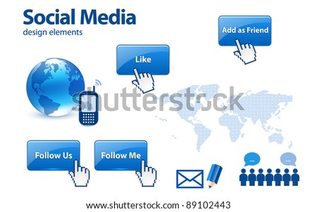 Social media design elements - stock vector