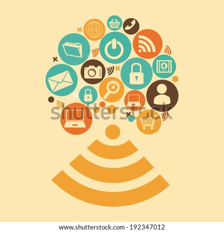Social media design over beige background, vector illustration