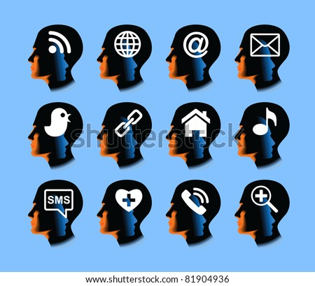 social media.drawing the human head with the symbol on it - stock vector
