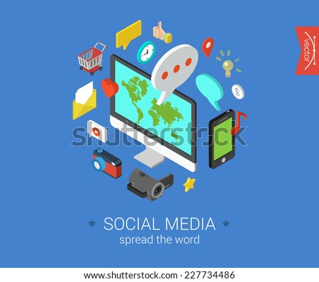 Social media flat 3d isometric pixel art modern design concept vector icons composition set. Desktop, chat, video, photo, music, phone, tablet. Flat web illustration infographics collection. - stock vector