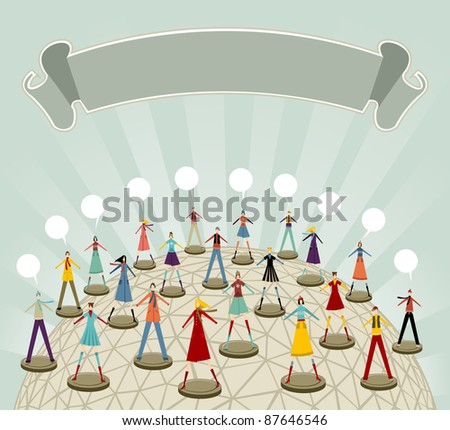 Social media global network connection concept in Christmas winter time. - stock vector