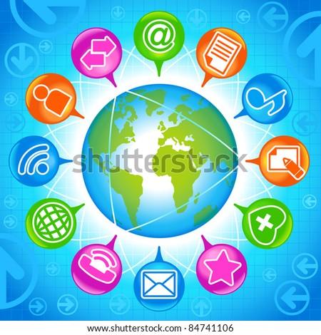 Social-Media-Globe.The development of global communications - stock vector