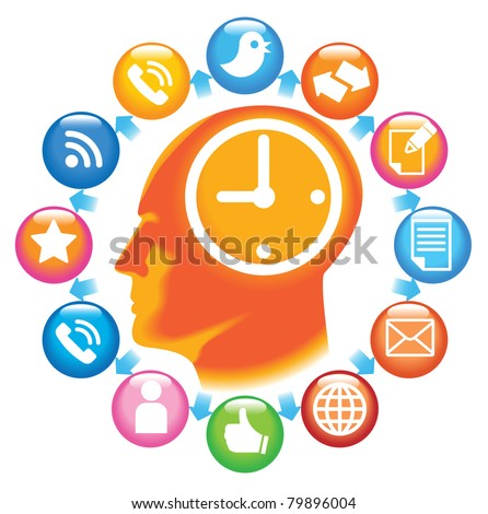 Social-Media-Head. The development of global communications - stock vector