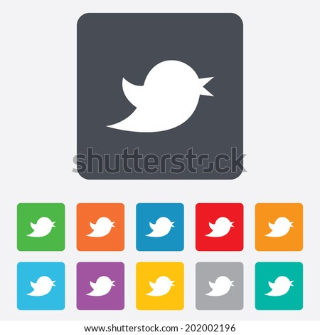 Social media icon. Short messages twitter retweet symbol. Rounded squares 11 buttons. Vector - stock vector