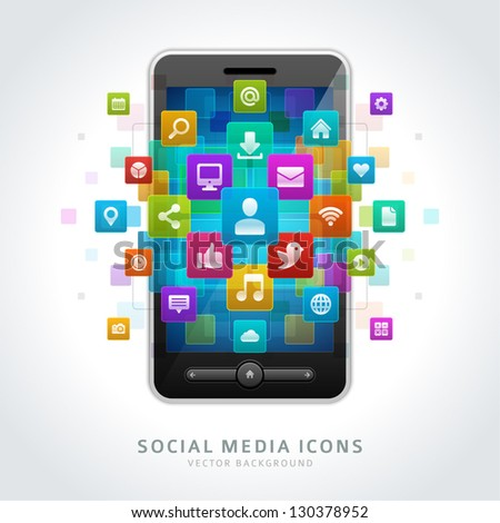 Social media icons and mobile phone vector background - stock vector