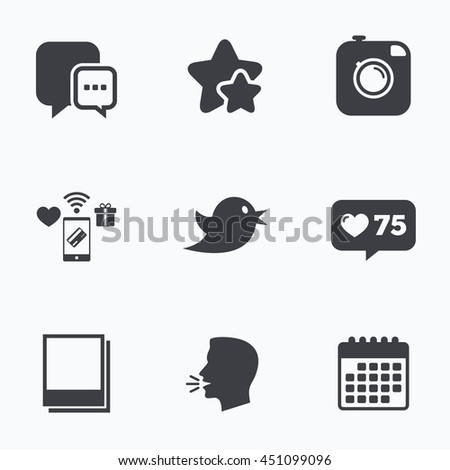 Social media icons. Chat speech bubble symbol. Hipster photo camera sign. Empty photo frames. Flat talking head, calendar icons. Stars, like counter icons. Vector