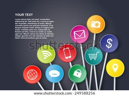 Social media icons design - stock vector