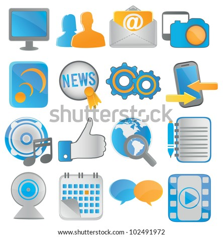 social media icons for web applications - vector icons - stock vector