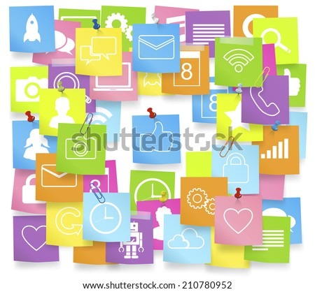 Social media icons on note pad. - stock vector