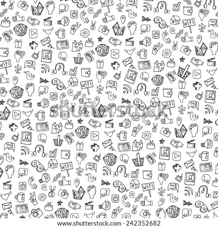 Social Media Icons  pattern in Doodle sketchy on Notepaper .Hand drawing set.For Backdrop,background,fabric,Wallpaper.Vector background.