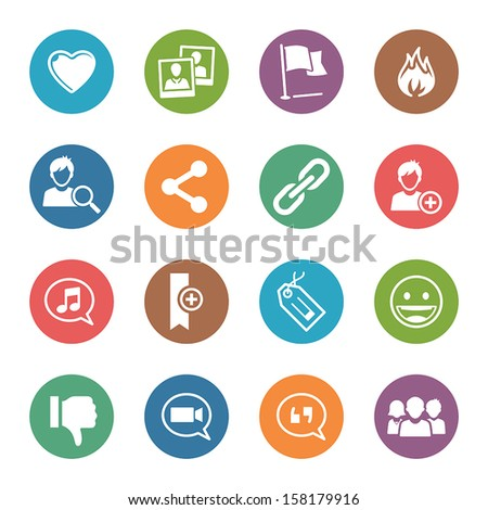 Social Media Icons Set 2 - Dot Series - stock vector