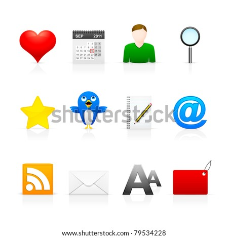 Social Media Icons - Set 1 Icon set in EPS8 format with JPEG (4000 x 4000) included. Easy to edit and change. - stock vector