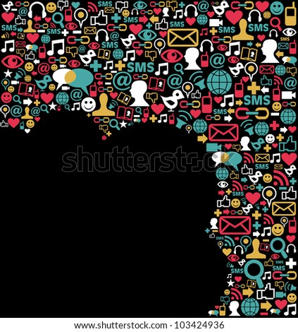 Social media icons set in cloud shape layout. Vector file layered for easy manipulation and custom coloring. - stock vector