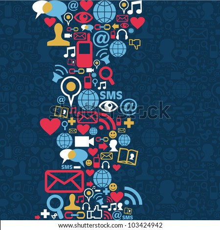 Social media icons set in wave shape layout. Vector file layered for easy manipulation and custom coloring. - stock vector
