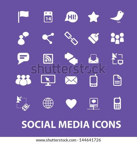 social media icons set, vector - stock vector