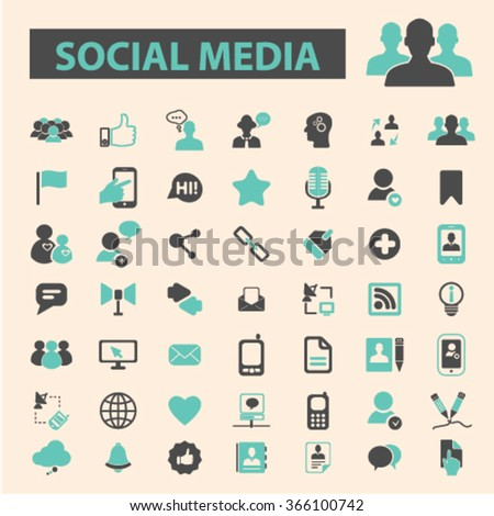 Social media icons, social community, blog icon, community, social concept, social network, user, avatar  icons, signs vector concept set for infographics, mobile, website, application  - stock vector