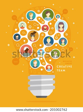 Social Media Icons, Social Network Concept, Creative Team. The Shape of the Light Bulb. Mobile Technologies and Communications. Generator of Ideas. Set of People Icons. - stock vector