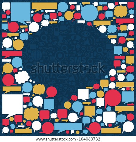 Social media icons texture in talk bubble shape composition over blue background. Vector file available. - stock vector