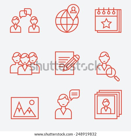 Social media icons, thin line style, flat design - stock vector