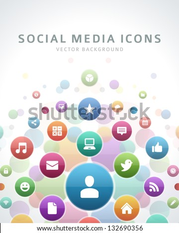 Social media icons vector background - stock vector