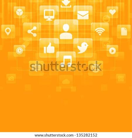 Social media icons vector background - stock vector