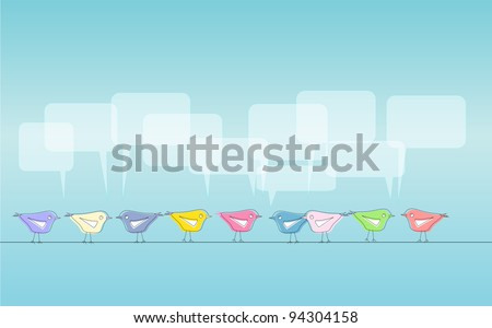 Social media illustration, tweeting birds, free copy space - stock vector