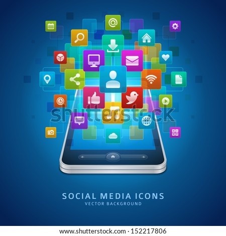 Social media infigraphics icons and mobile phone vector background