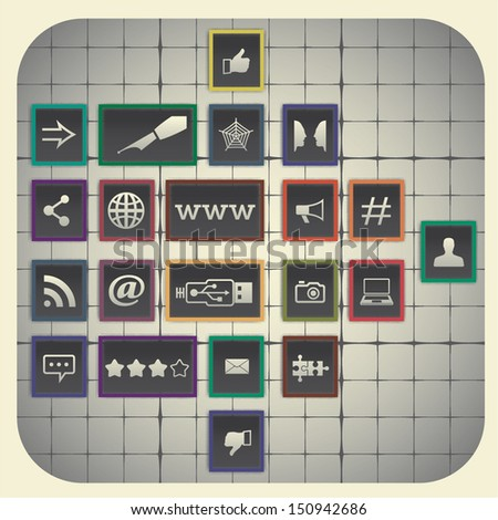 Social media infographic elements with graph background (21 symbols)  - stock vector