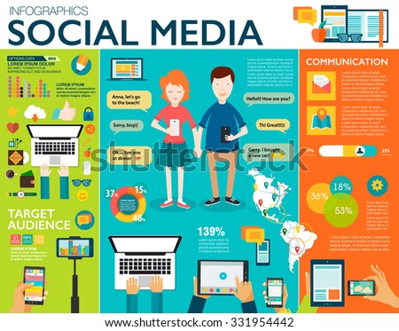 Social Media Infographic Set Charts Icons Stock Vector 327390833 ...