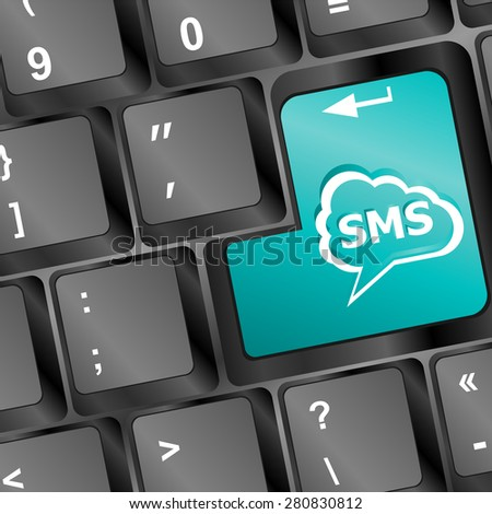Social media key with sms text on laptop keyboard vector - stock vector