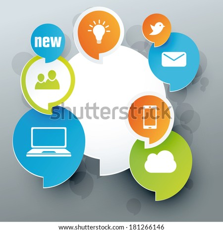 social media label green, orange, blue - stock vector