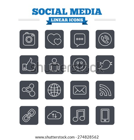 Social media linear icons set. Speech bubble, lovers relationships and human person. Rss, share and mail envelope. Musical note, smartphone and smile. Thin outline signs. Flat square vector - stock vector