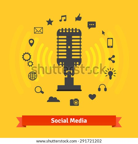 Social media marketing and podcasts recording studio concept and icons. Vector set. - stock vector