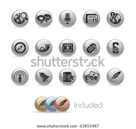 Social Media // Metal Round Series --- It includes 4 color versions for each icon in different layers--- - stock vector