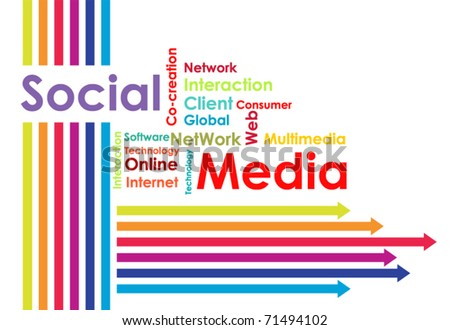 Social media mind map with upward arrows - stock vector