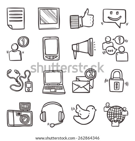 Social media mobile technology hand drawn decorative icons set isolated vector illustration - stock vector