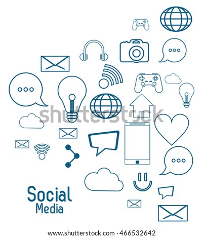 social media multimedia bulb bubble envelope cloud global smartphone house icon. blue and isolated illustration. Vector graphic