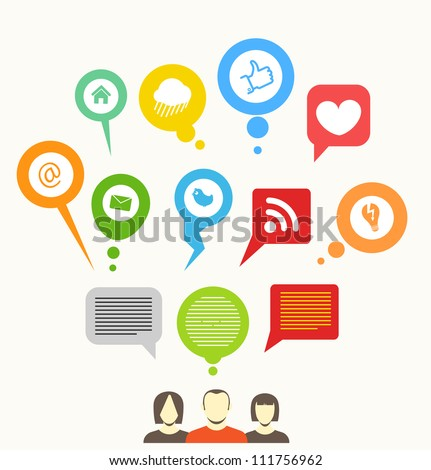 Social media network abstract speech bubbles - stock vector
