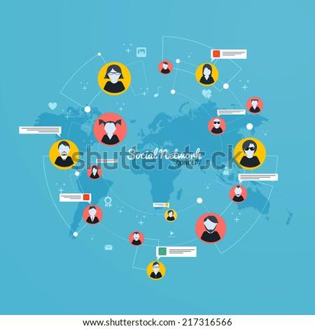 Social Media, Network concept. Flat design. Vector - stock vector