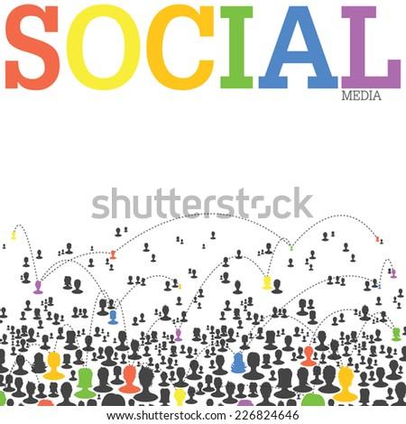 Social Media Network Concept. Vector - stock vector