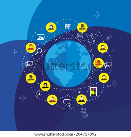 social media & network concept vector with flat design icons on blue background. This graphic represents virtual internet world & people connecting to each other through various means of communication - stock vector