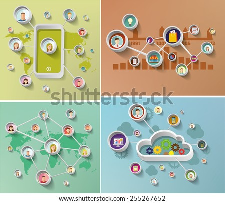 Social media network concept  with  faces  Set of vector illustration - stock vector