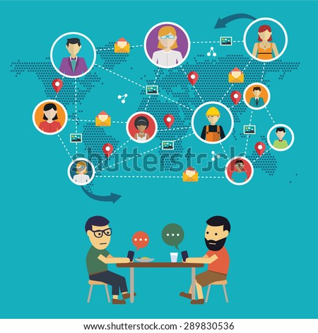 Social media network concept with people with their hone and globe on background vector illustration - stock vector