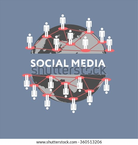 Social media network connection concept - stock vector