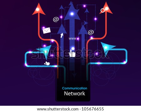 Social media, network connection concept displaying connecting arrows. EPS 10.